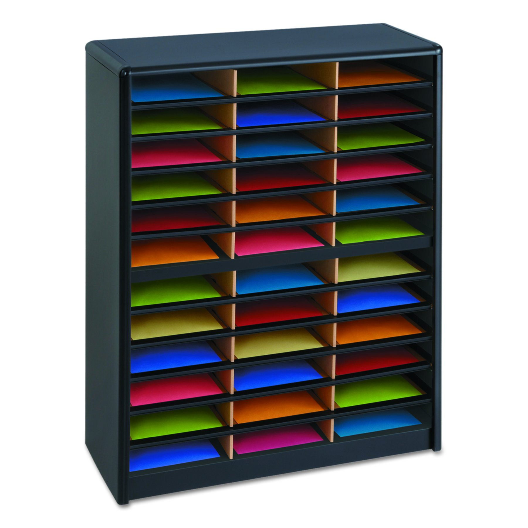 Safco Products 7121BL Value Sorter Literature Organizer, 36 Compartment, Black