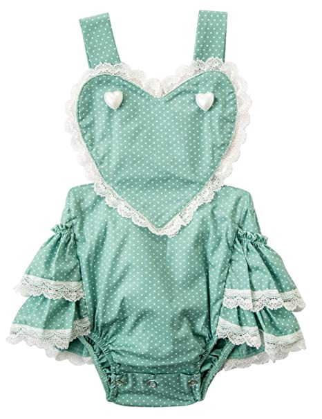0e8486e828cd messy code Baby Girls Romper Infant Bodysuit Toddlers Boutique Heart Ruffle  with lace Jumpsuit Girl Clothes Green 6-12 Months  Amazon.in  Baby