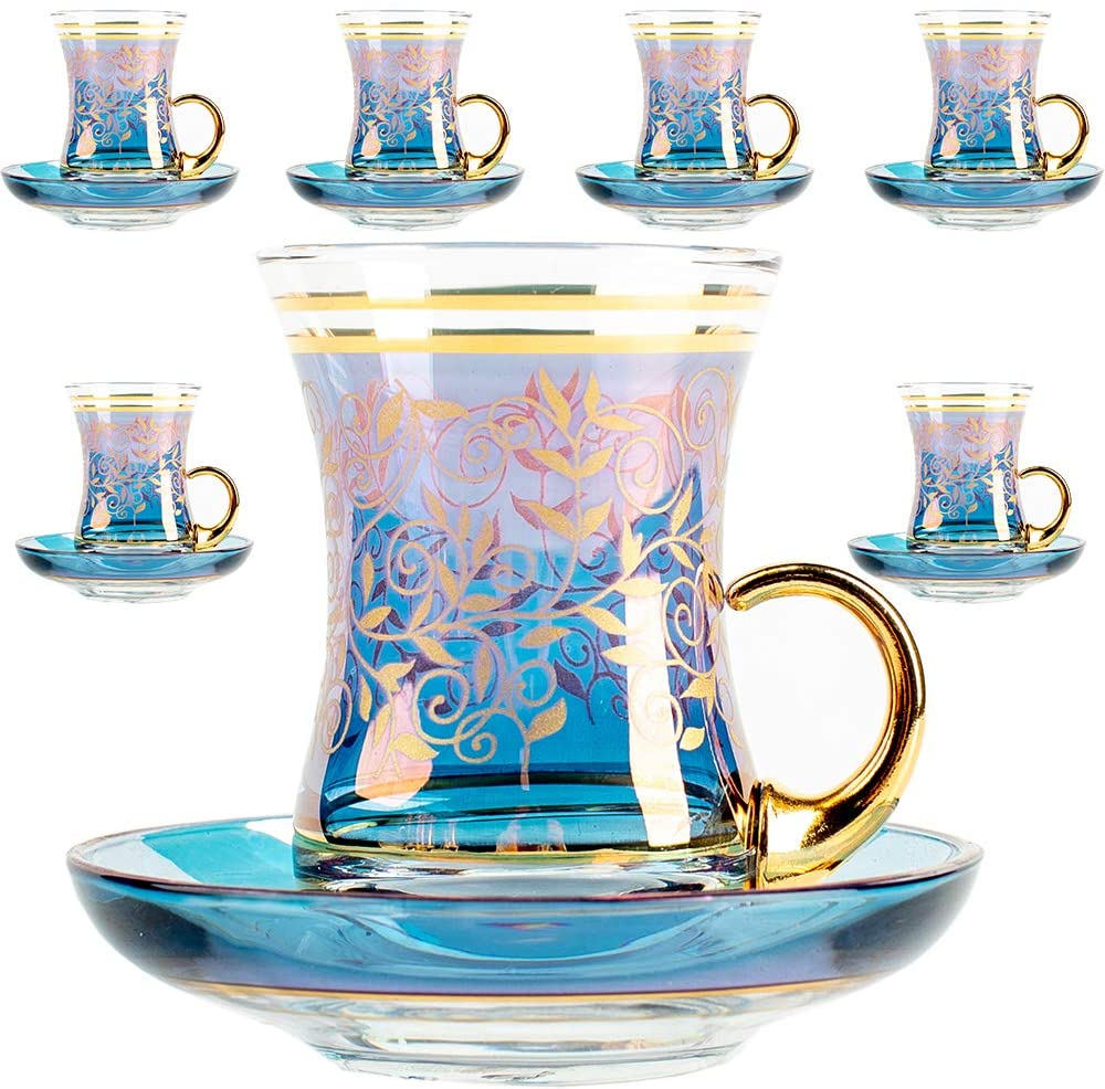 Vintage Turkish Tea Glasses Cups and Saucers Set of 6 with Handle Gold Decors for Serving and Drinking Housewarming Gift for Home 3.45 oz