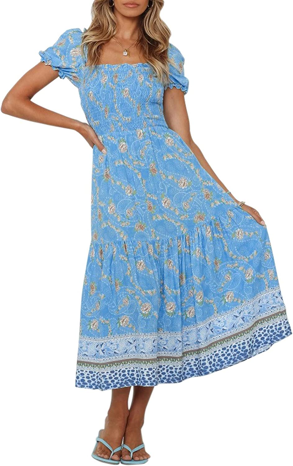 fits S M classic womans dress Vintage Beige blue green colored flower printed sleeveless flowy summer maxi dress with waist ribbon