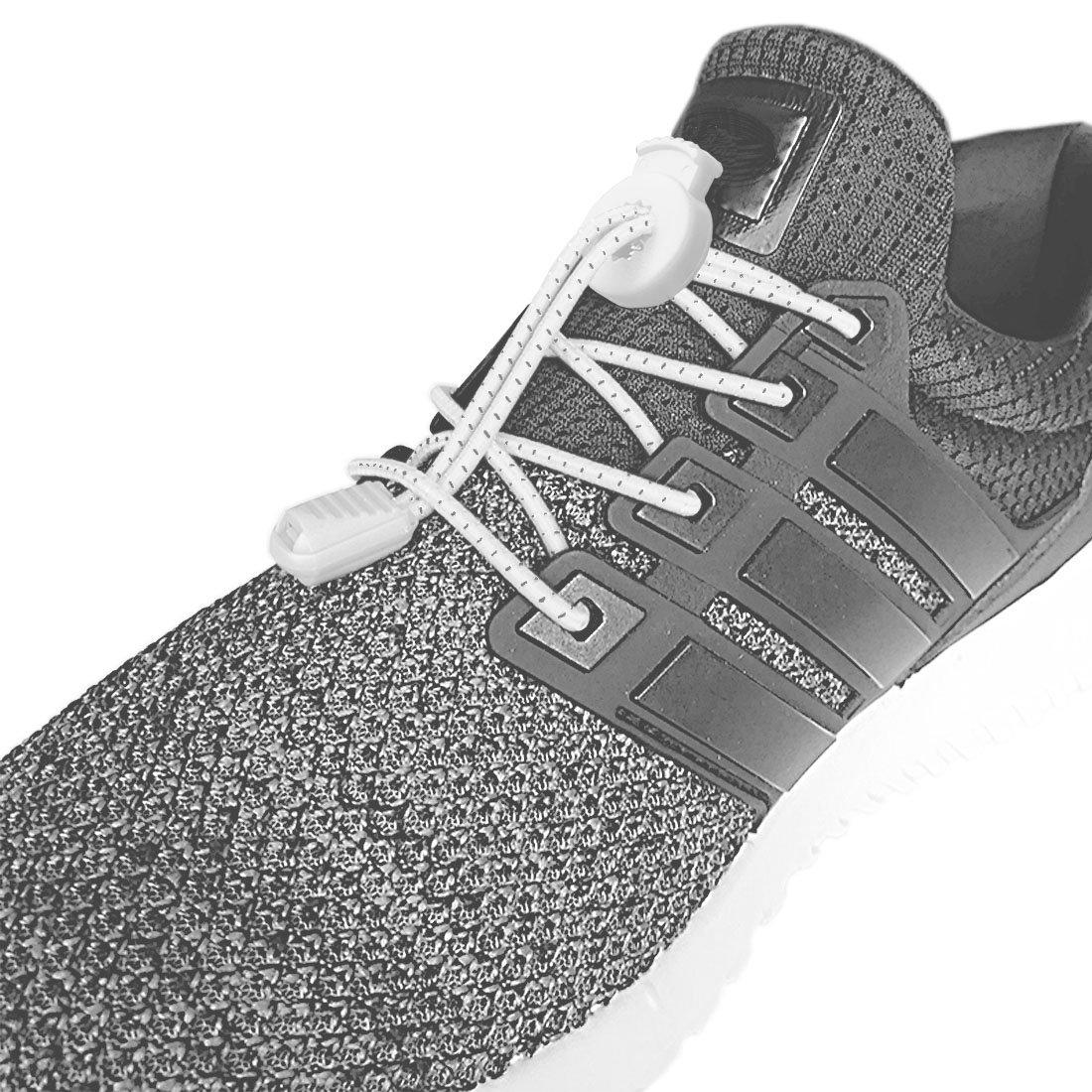 Canwn [2 Pares] Cordones Elásticos para Zapatos, Atar y Sin Nudo Reflexivo Cordones de Zapatos con Longitud de 120cm para Maratón y Triatlón Atletas ...