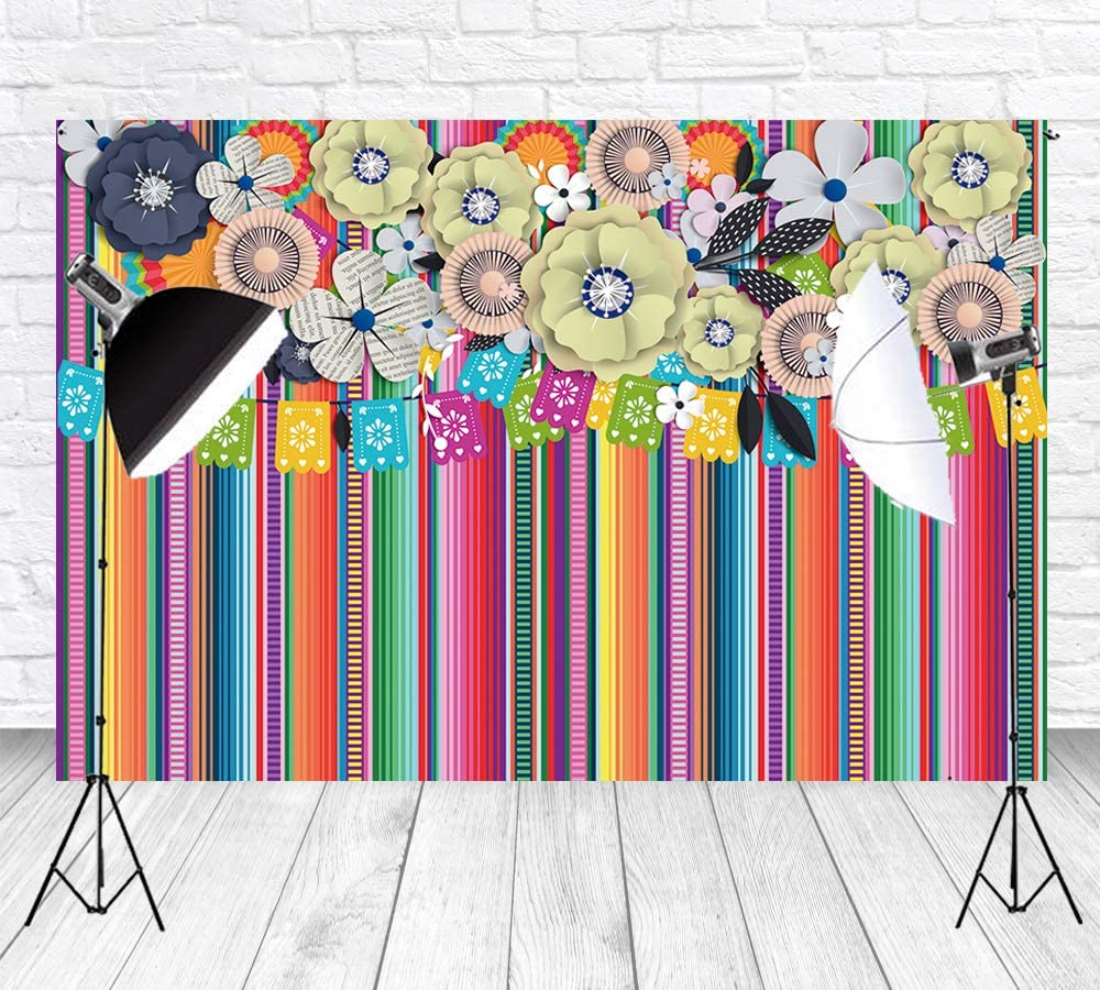 6x6FT Vinyl Photo Backdrops,Mexican,Native Cultural Borders Photo Background for Photo Booth Studio Props