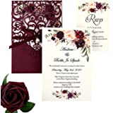 DreamBuilt 5X7.2 Inch 50PCS Blank Laser Cut Burgundy Wedding Invitations With Rsvp Cards And Envelopes And Ribbon Belly…