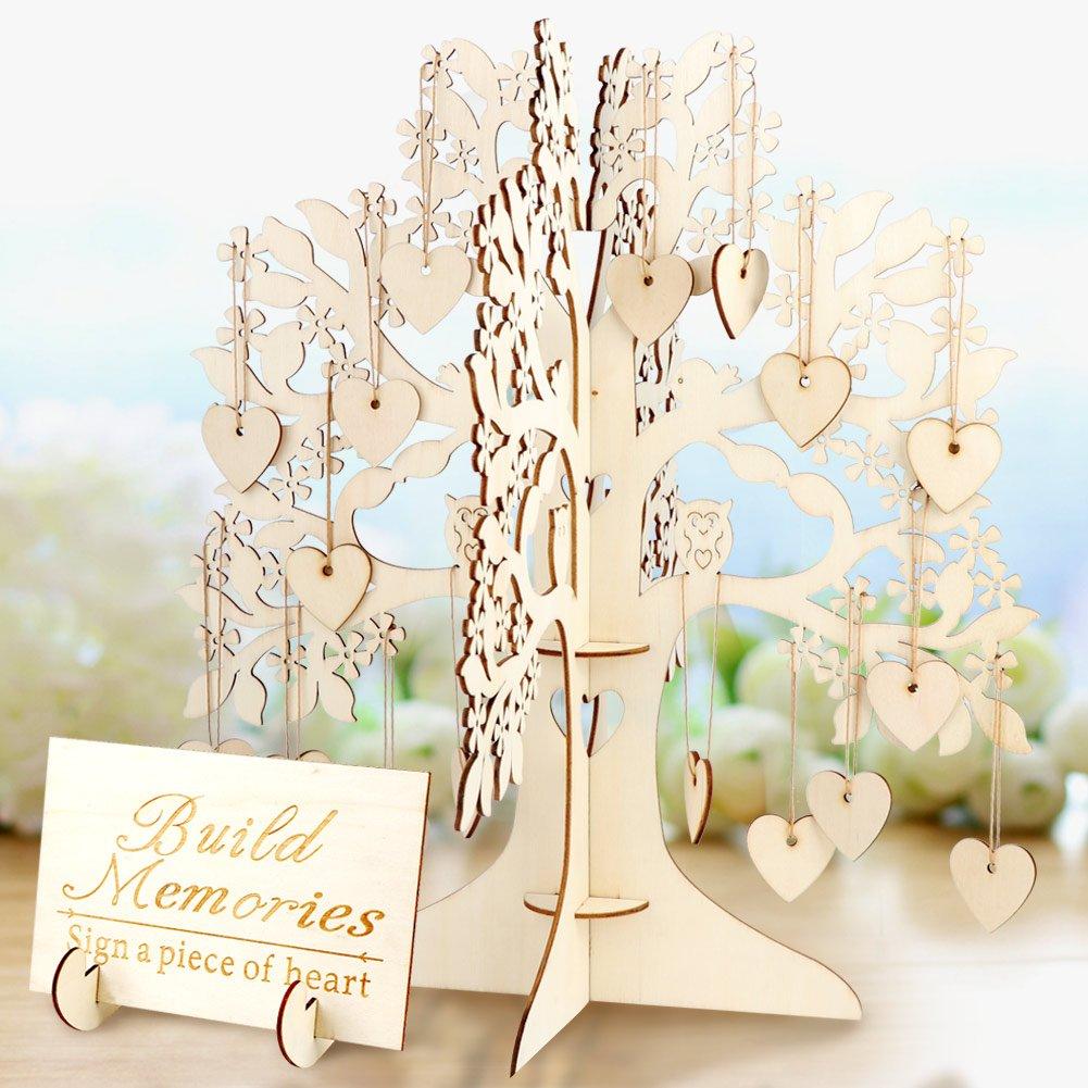 AerWo Wishing Tree Matrimonio Guest Book 3D Wooden Guest Sign Book Decorazioni di nozze vintage