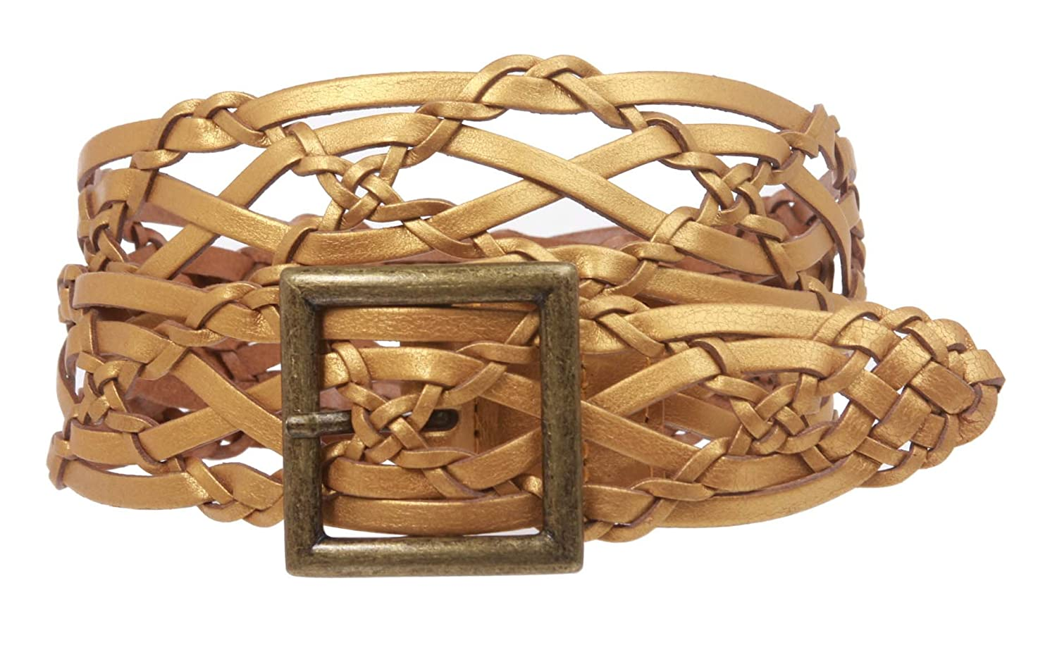 """Women's 1 1/2"""" Braided Woven Leather Square Belt"""