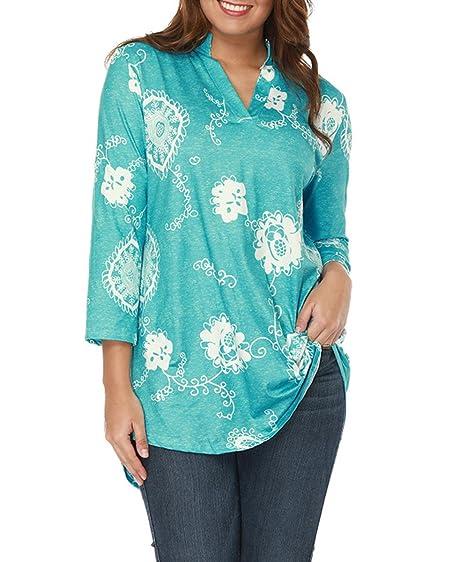 31a414edff3 Yeyemet Paisley Print Blouse Womens T Shirts Henley Tunic Top Curved Hem  Trendy Clothing Sexy Deep