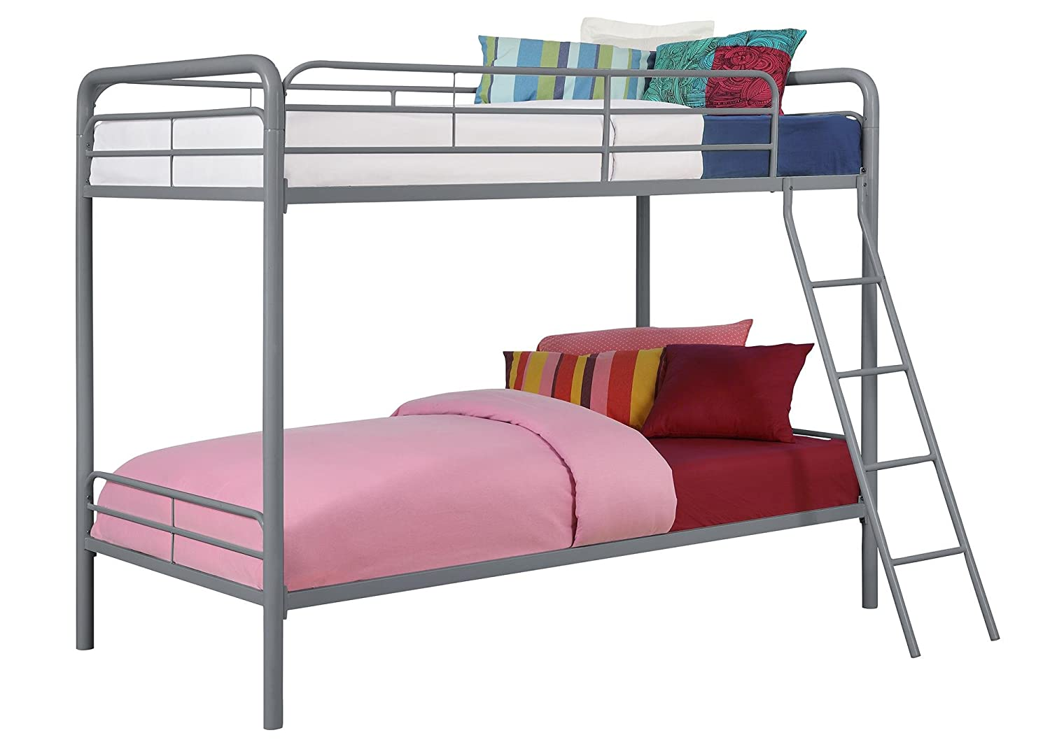 amazoncom dhp bunk bed with metal frame and ladder spacesaving design silver kitchen u0026 dining