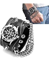 JSDDE Men's Rivets Punk Rock Collection Cross Black Leather Belt Bracelet Watch
