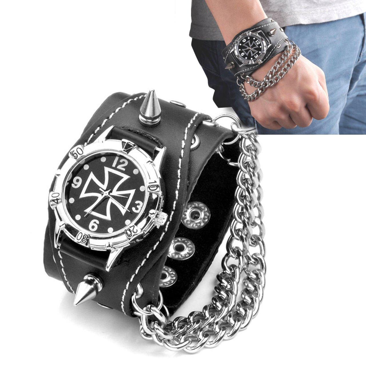 Top Plaza Men's Rivets Punk Rock Collection Cross Black Leather Belt Bracelet Watch Analog Quartz Wrist Watches