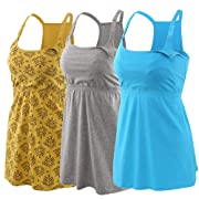 Topwhere Pregnancy Breastfeeding Shirt, Maternity Nursing Top Sleep Cami Women Basic Vest (Large, Gray+Dark Yellow+Lake Blue)
