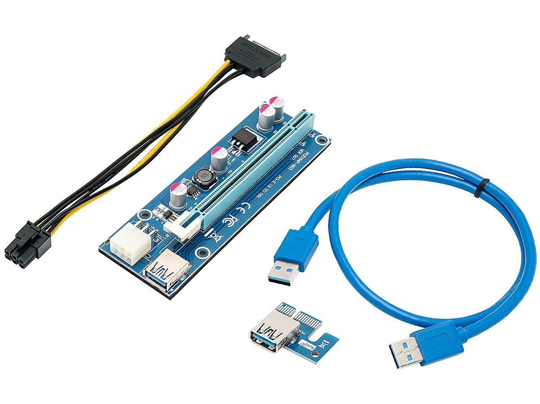 Tarjeta De Mineria, Tarjeta Vertical, Pcie (pci Express) 16x A 1x Adaptador Vertical, Cable De Extension Usb 3.0 De 60 C