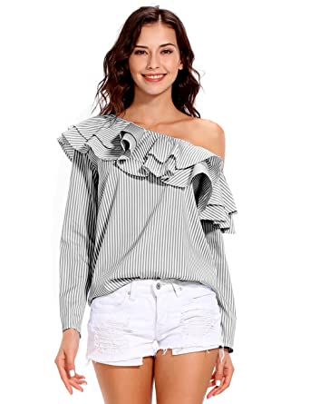 fa2a9168624cb3 ISASSY Women s Off Shoulder Ruffle Frill Long Sleeve Striped Bardot Tops Blouse  Shirt Tee Black M