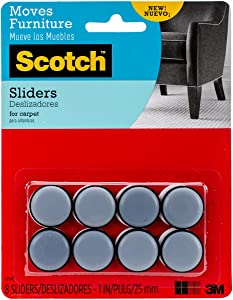 Scotch Self-Stick Sliders, Gray/Black, 1-Inch Diameter, 8 Sliders/Pack (SP643-NA)