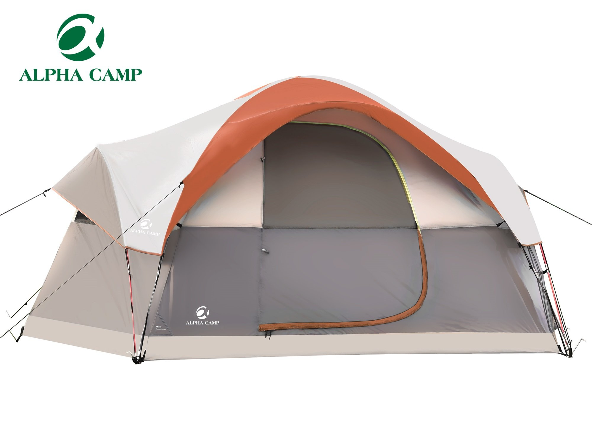 ALPHA CAMP Dome Family Camping Tent 6 Person - Orange 14' x 10'