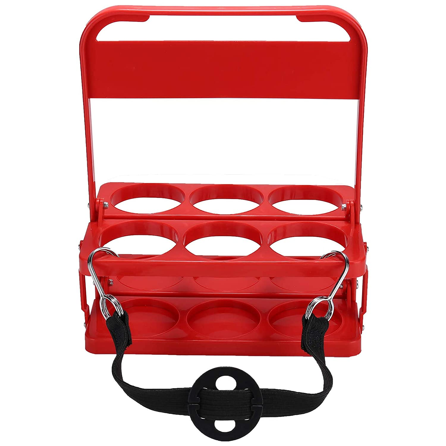 Foldable Plastic Drink Carrier, Beverage Delivery Holder, Ideal for Grubhub Doordash Instacart Postmates Uber Eats Drivers, Catering, Restaurant (Red)