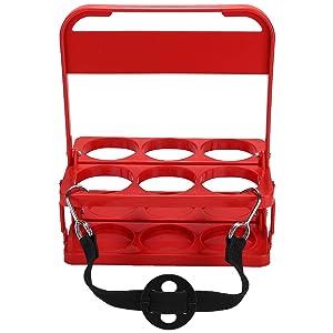 Foldable Plastic Drink Carrier, Beverage Delivery Holder, Ideal for Grubhub Doordash Instacart Postmates Uber Eats Drivers, Catering, Restaurant (Red)