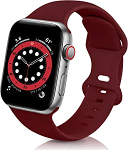 ZALAVER Bands Compatible with Apple Watch Band 38mm 40mm 42mm 44mm, Soft Silicone Sport Replacement Band Compatible with iWatch Series 6 5 4 3 2 1 Women Men Wine Red 38mm/40mm S/M