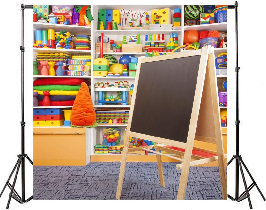 Laeacco School Toy Store Backdrop 10x10ft Vinyl Photography Backgrounds Children Drawing Board Toys Gifts Students Infant Kids Photo Backdrop Studio