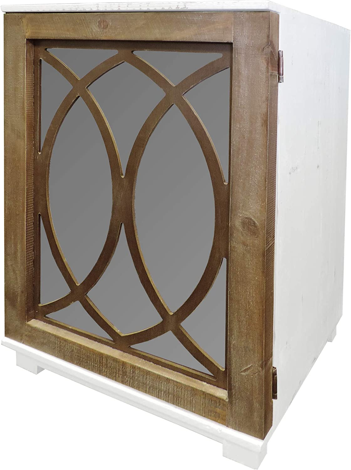 Tup The Urban Port Wooden Side Table with Lattice Pattern Mirrored Door Cabinet, White and Brown