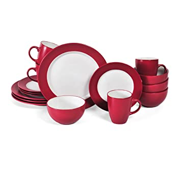 Pfaltzgraff Harmony 16 Piece Dinnerware Set (Service For 4) Red  sc 1 st  Amazon.com : red dinnerware sets cheap - pezcame.com
