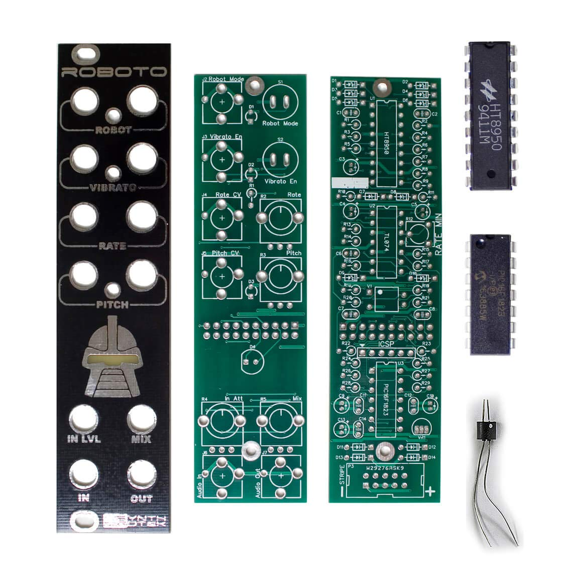 Roboto PCBs, Panel, ICs and Vactrol - Robot Voice Changing Eurorack Module PCB Set