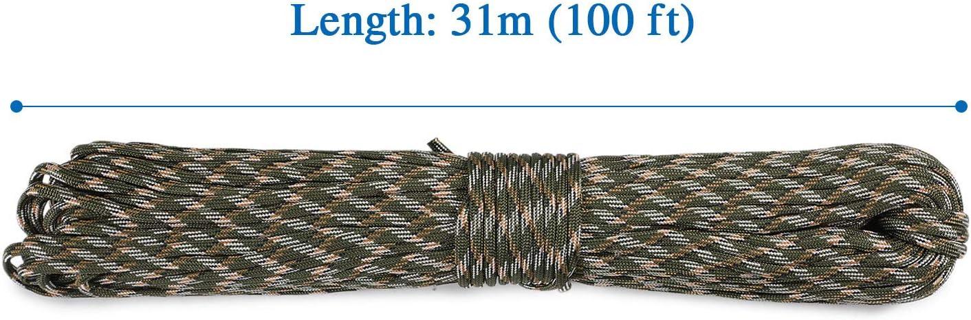Huntvp Cuerda de Nailon Profesional Cuerda Paracord para Actividades al Aire Libre Camping Manualidades con 7 filamentos 31 m Largo 4 mm Grosor Color Negro marr/ón Verde Camuflaje