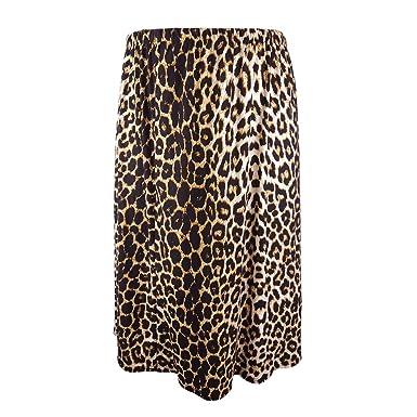 a163da2f9196 Yitonglian Women Plus Size Skirt Loose Summer Autumn Leopard Print Casual  Midi Long Skirts-BRN