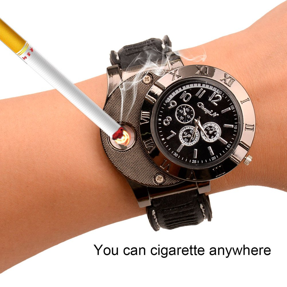 | Ckeyin174; Novelty Sport Wristwatch Quartz Watches Collectable Butane Cigar Cigarette Lighter with USB Electronic Rechargeable Windproof Flameless Electric Gift - Black