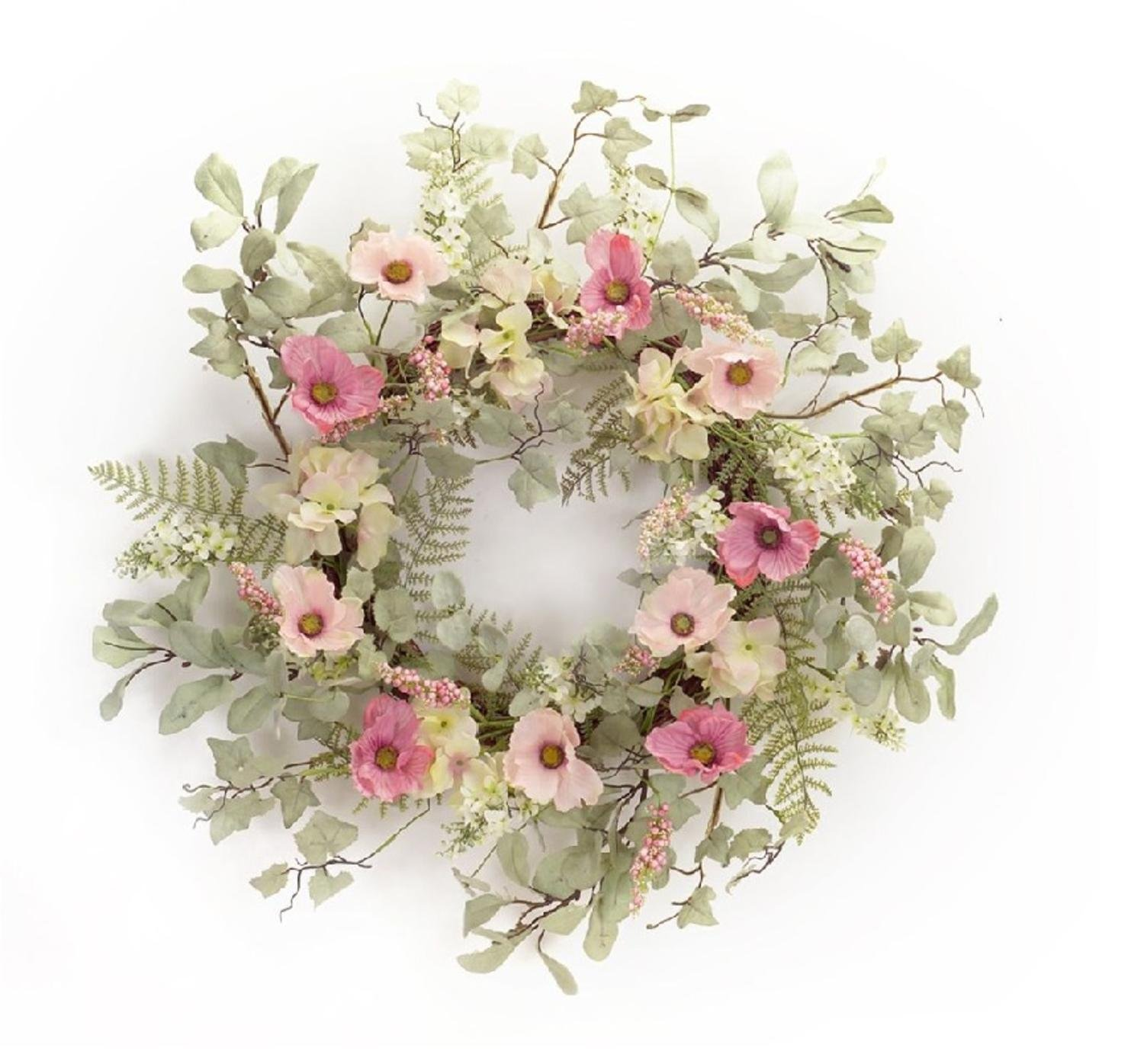 Pack of 2 Pastel Poppy and Hydrangea Wreaths with Foliage and Twigs 25'' - Unlit