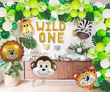 JOYMEMO Wild One Birthday Decoraciones Globos Garland Arch Kits Selva Animal Primer cumpleaños Suministros para Fiestas