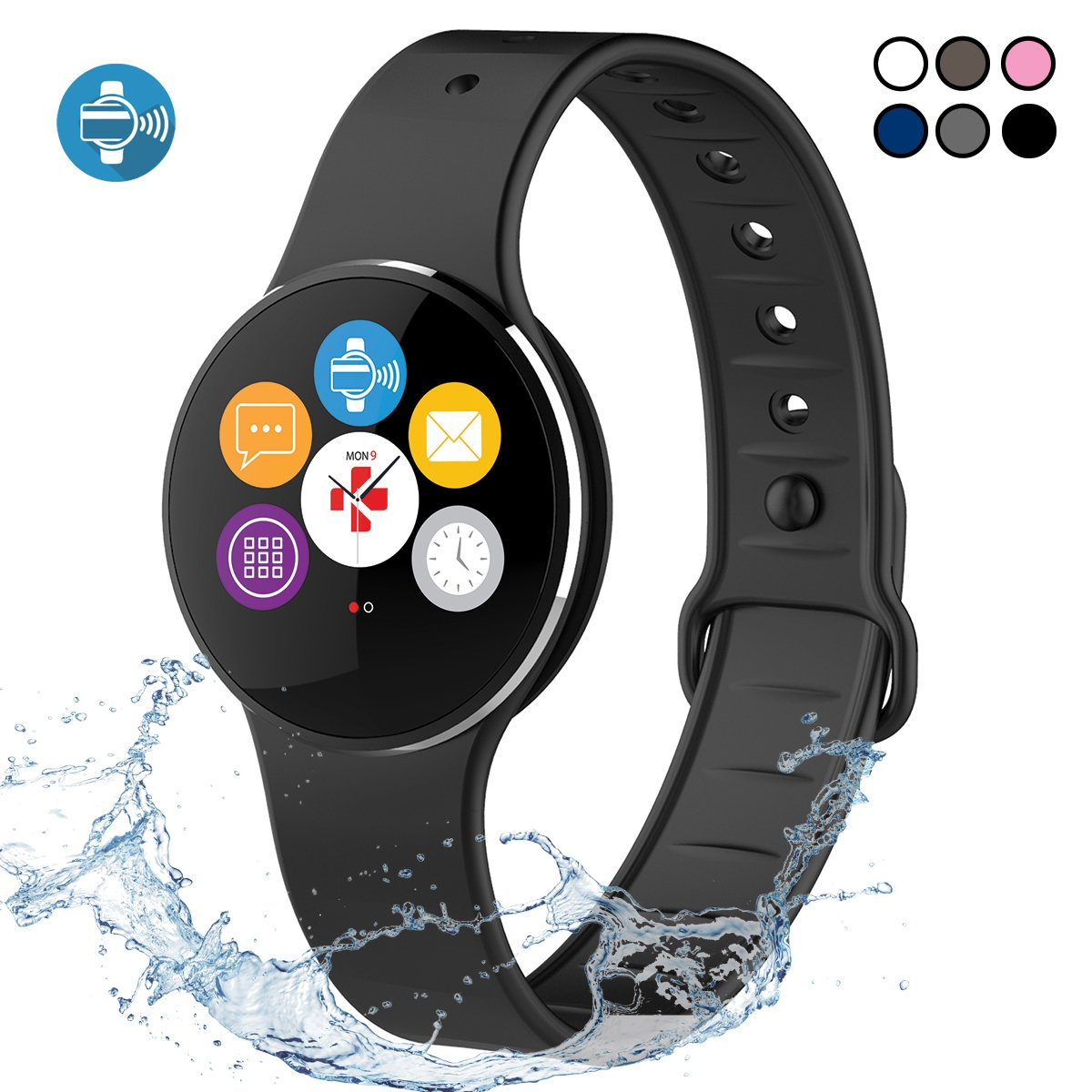 MyKronoz ZeCircle2 - Activity Tracker with Color Touchscreen, Smart Notifications and contactless Payment (Black/Black)