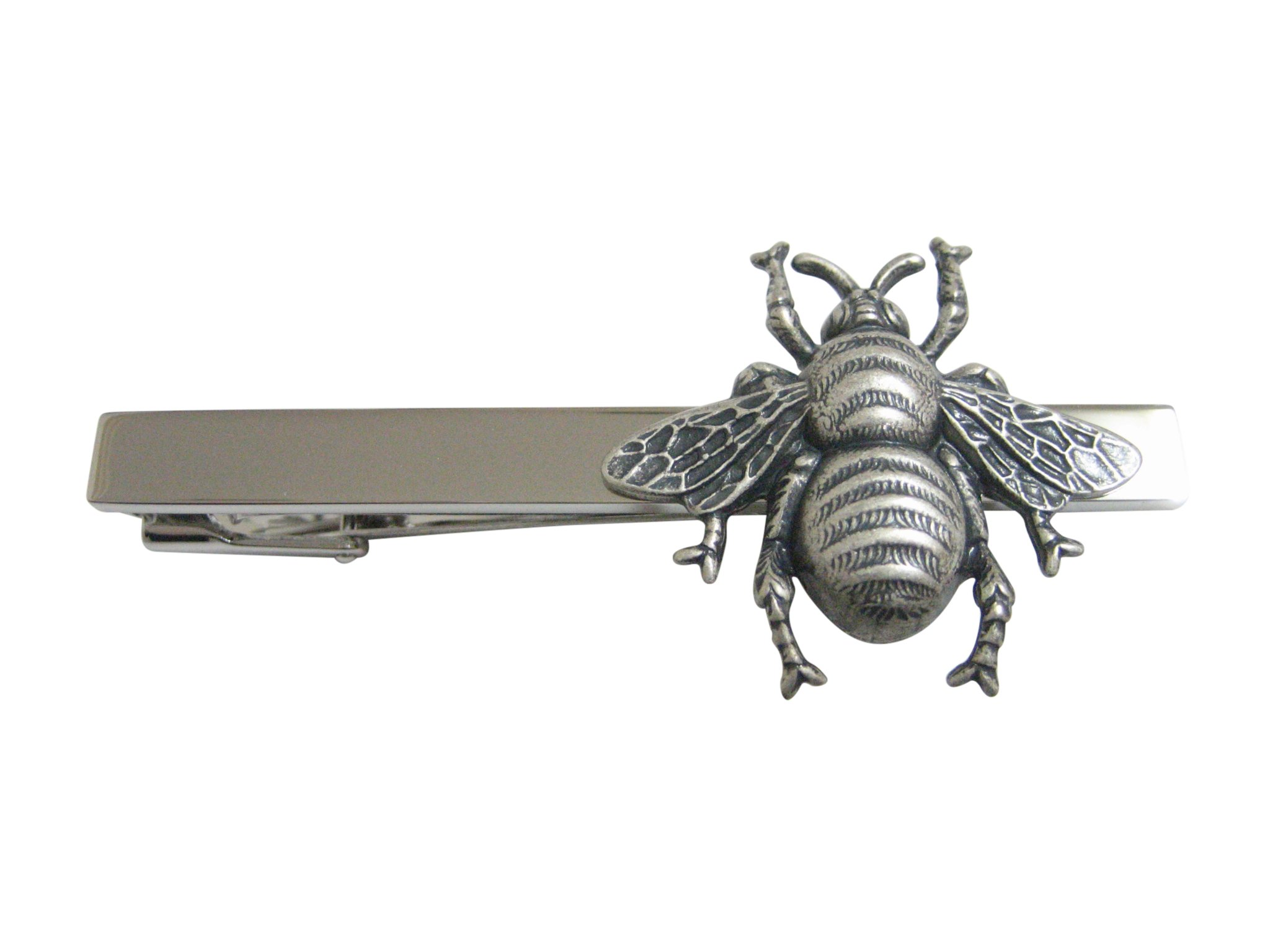 Silver Toned Large Bee Bug Insect Pendant Square Tie Clip