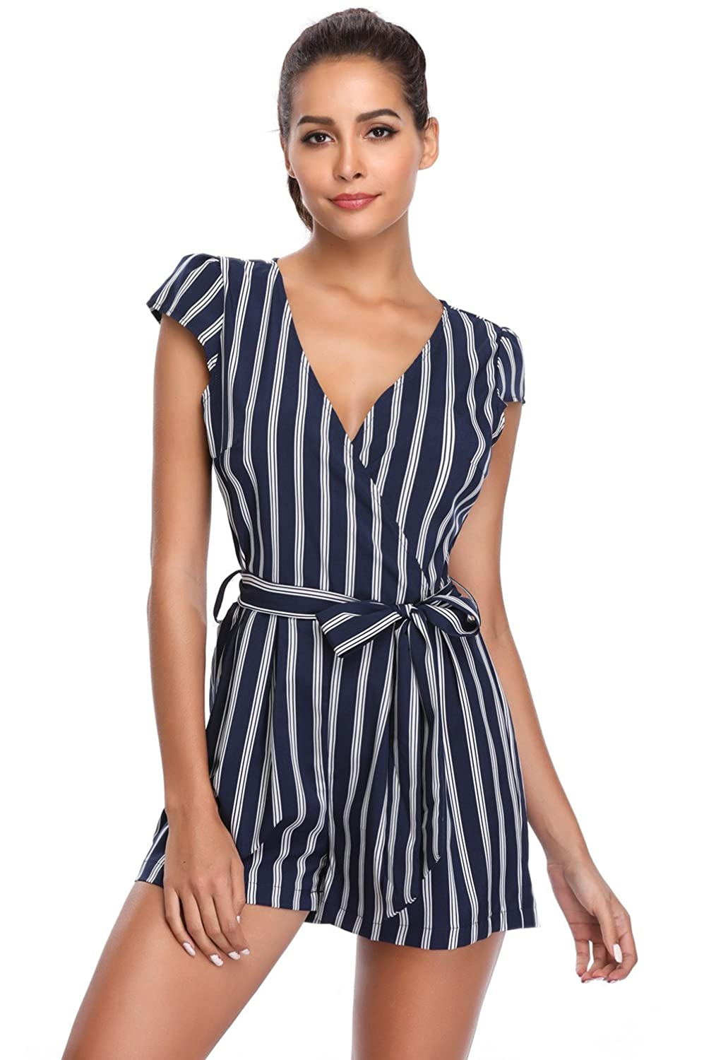 31f62726 MISS MOLY Women's Sexy Club Romper Deep V Neck Cap Short Sleeves Crossover  Mid Rise Casual Vertical Jumpsuit with Belt