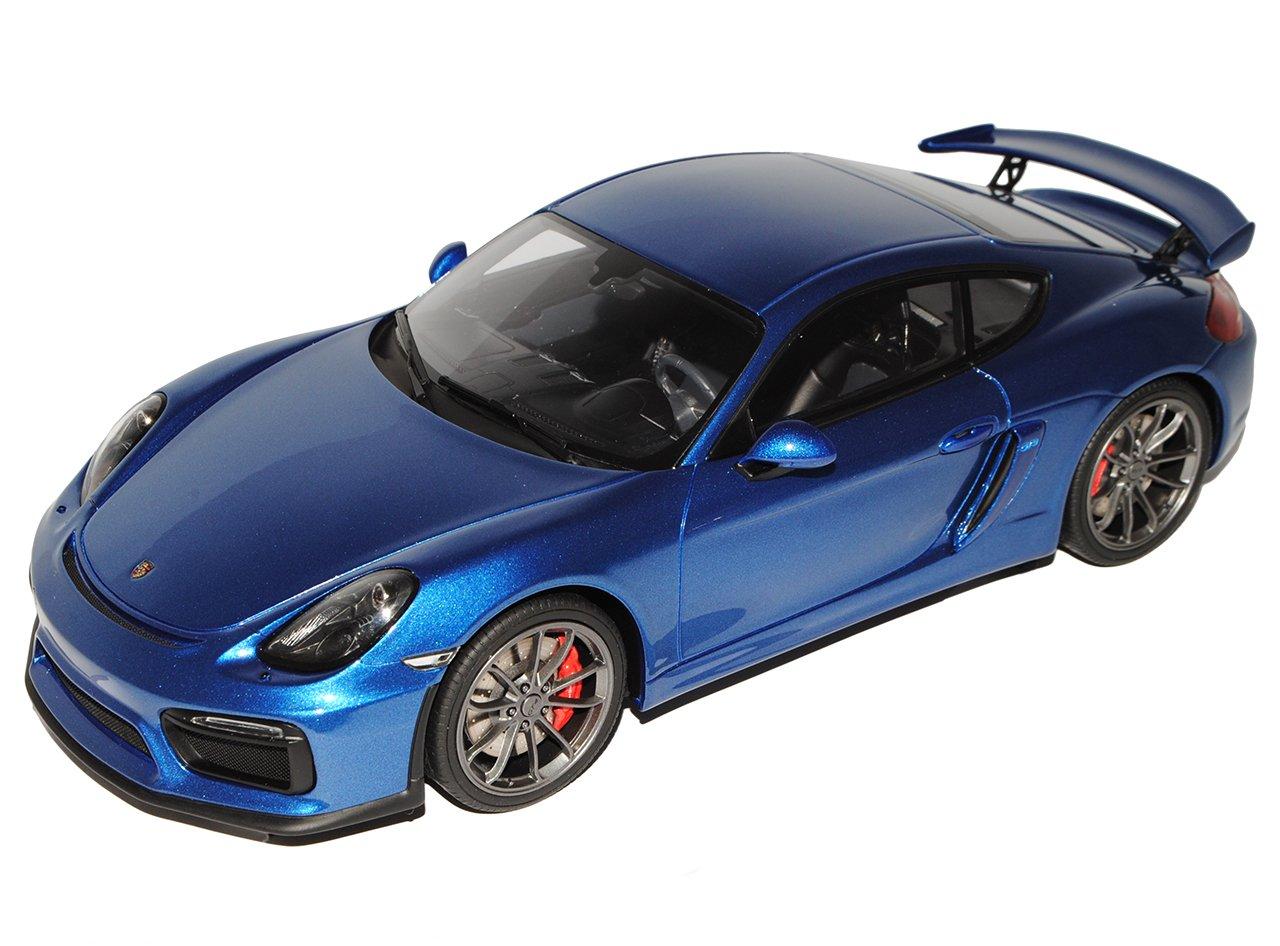GT Spirit Porsche Cayman 981C GT4 Coupe Blau mit Vitrine 2013-2016 1/18 Modell Auto