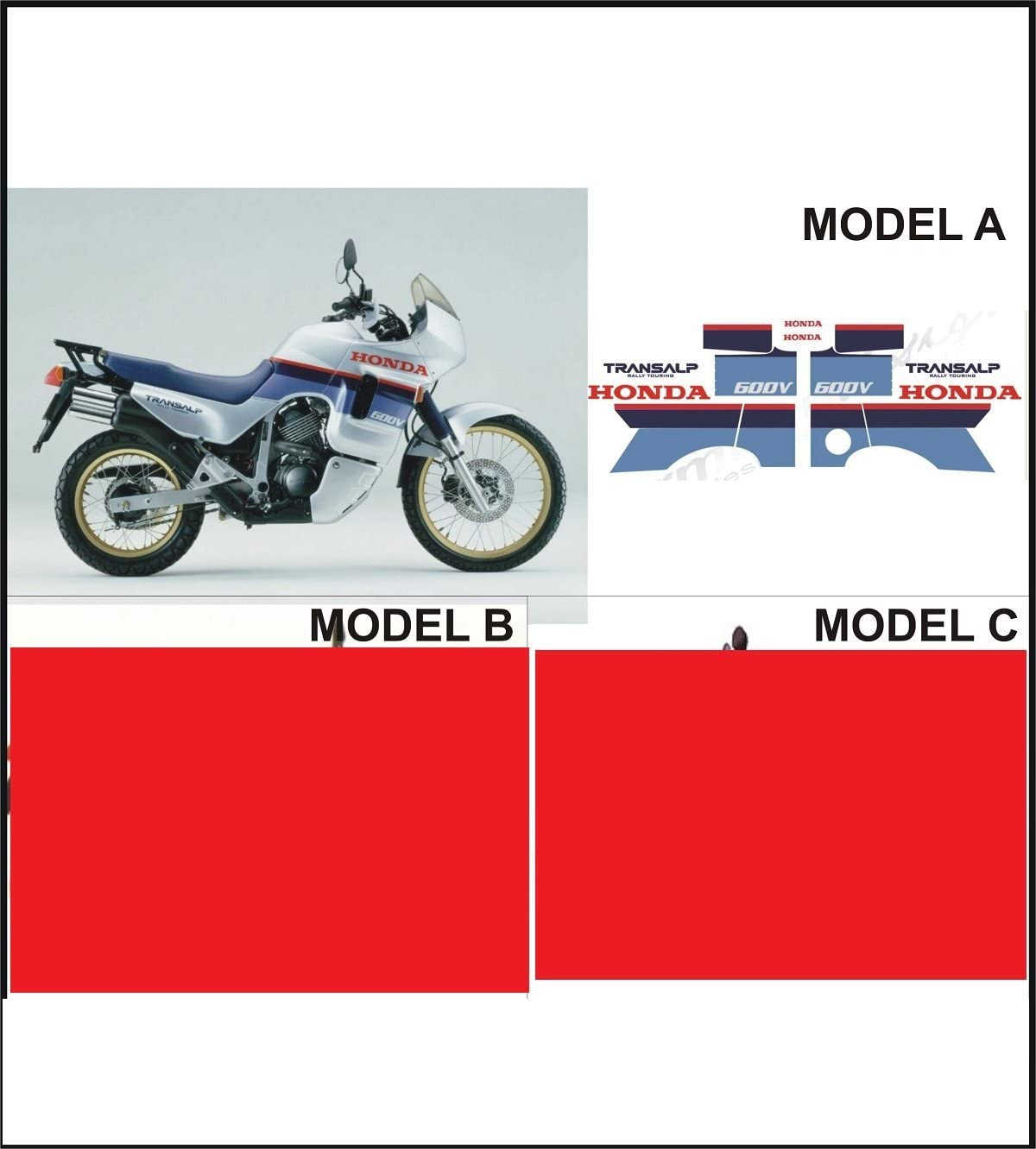 Kit Pegatinas Decal Stickers Honda Transalp XL 600 V 1987 – 1988 Modelo a: Amazon.es: Coche y moto