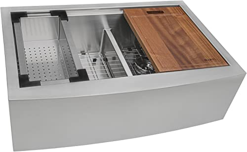Ruvati 33 Apron-front Workstation Low-Divide Double Bowl 60 40 Farmhouse Kitchen Sink 16 Gauge Stainless Steel – RVH9201
