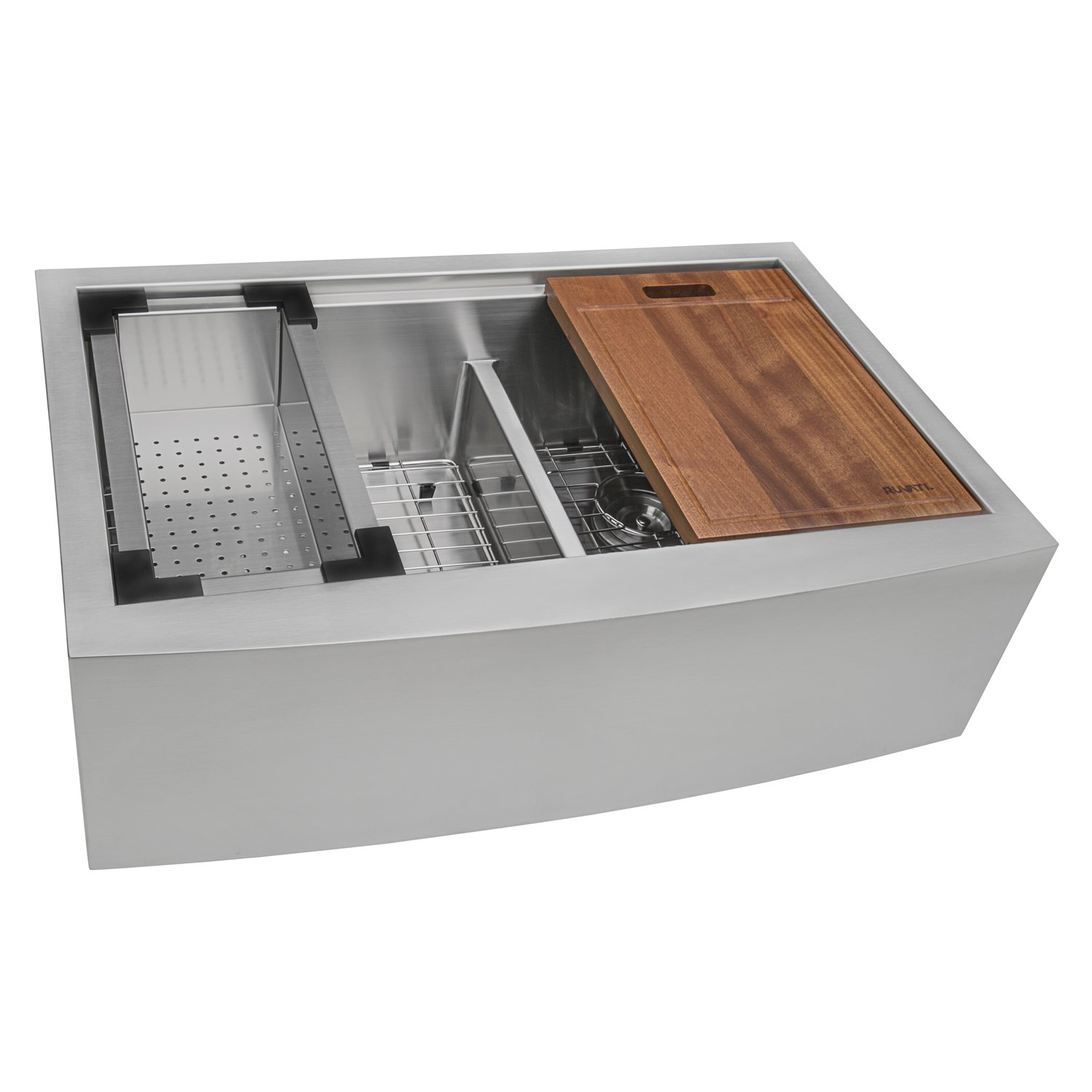 Ruvati 33'' Apron-front Workstation Low-Divide Double Bowl 60/40 Farmhouse Kitchen Sink 16 Gauge Stainless Steel - RVH9201 by Ruvati