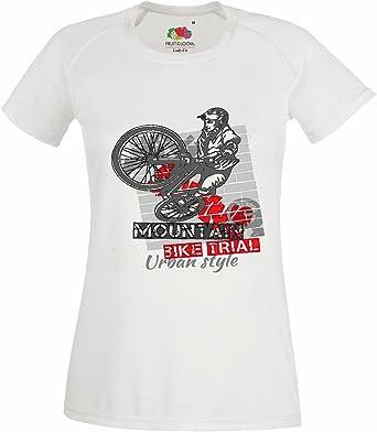T-Shirt Camiseta Remera MONTAÑA BTT reparación de la Bicicleta de Ciclo del Paseo en Bicicleta BTT Camisa en Blanco: Amazon.es: Ropa y accesorios