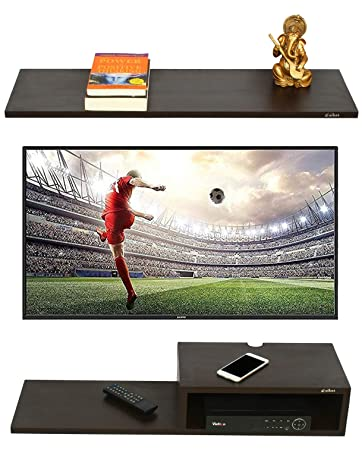 94dc7a7b6a2 Anikaa Willy TV Entertainment Unit Wall Set Top Box Stand Shelf (Wenge  Big)  Amazon.in  Home   Kitchen