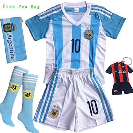 Barcelona Kids Jersey 2015 2016 Messi  10 Football Soccer Argentina Home Jersey  Shorts   Socks   Free Key Chain   Free Pen Bag For Kids 3-14 Years 93983d08f