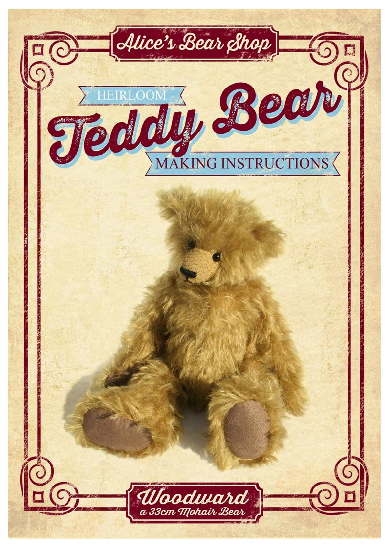 A5 Bear Making Pattern and Instruction booklet Woodward - 33cm Alice's Bear Shop