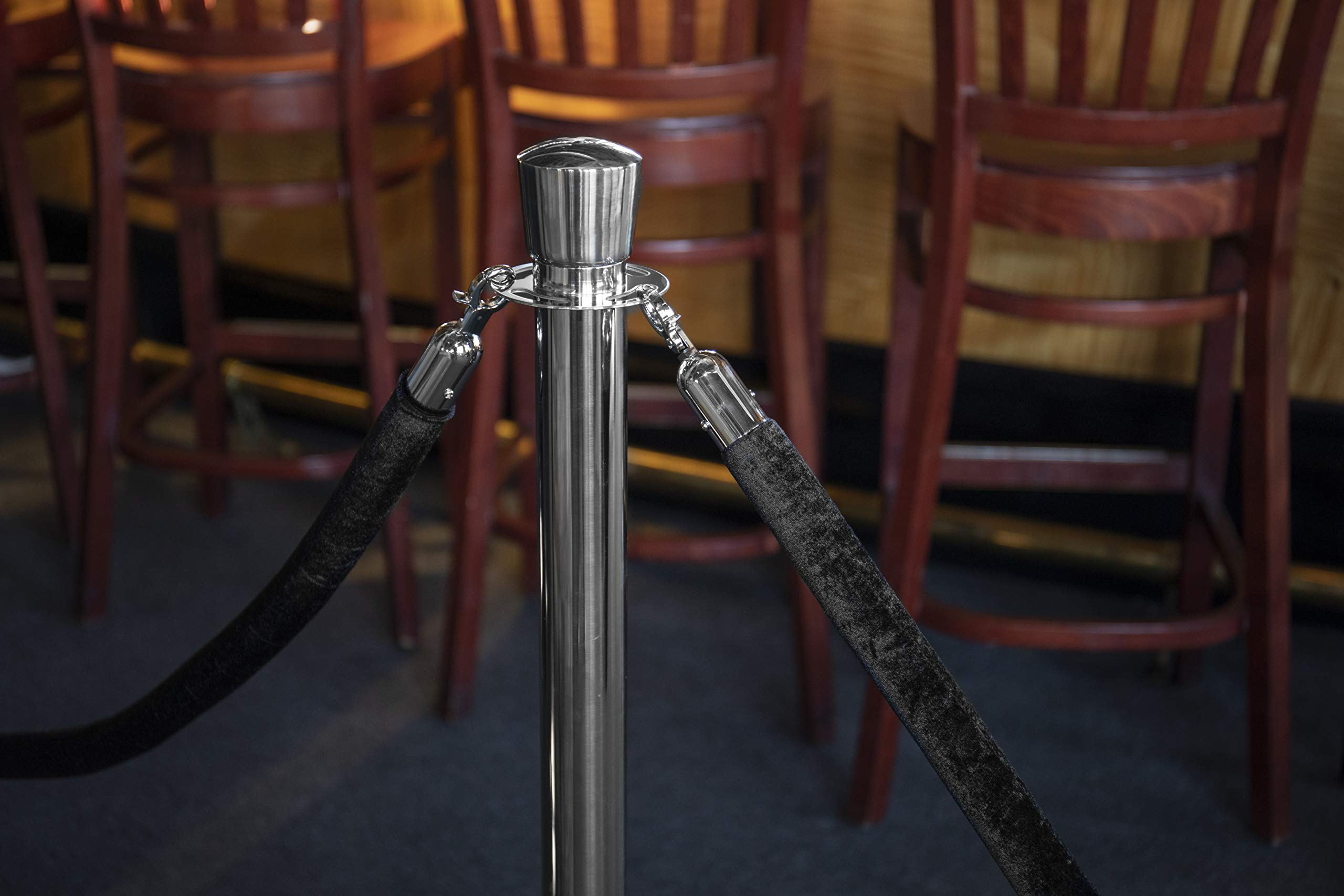 US Weight Premier Chrome Post and Black Velvet Rope Crowd Control Stanchions - 6 Pack, Includes 6 Chrome Stanchions & 5 Velvet Ropes by US Weight (Image #27)