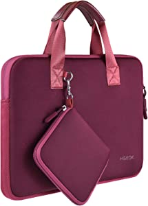"Laptop Sleeve 13 13.3 13.5 Inch Case for MacBook Air Pro 13""-13.3"", Surface Laptop 13.5"", Water Repellent Elastic Neoprene Notebooks Hand Bag with Handle and Small Case, Wine Red"