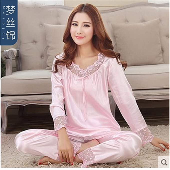 Amazon.com: New Luxury Women Silk Pajamas Solid Embroidery Pyjamas Women Lounge Pajama Sets: Clothing