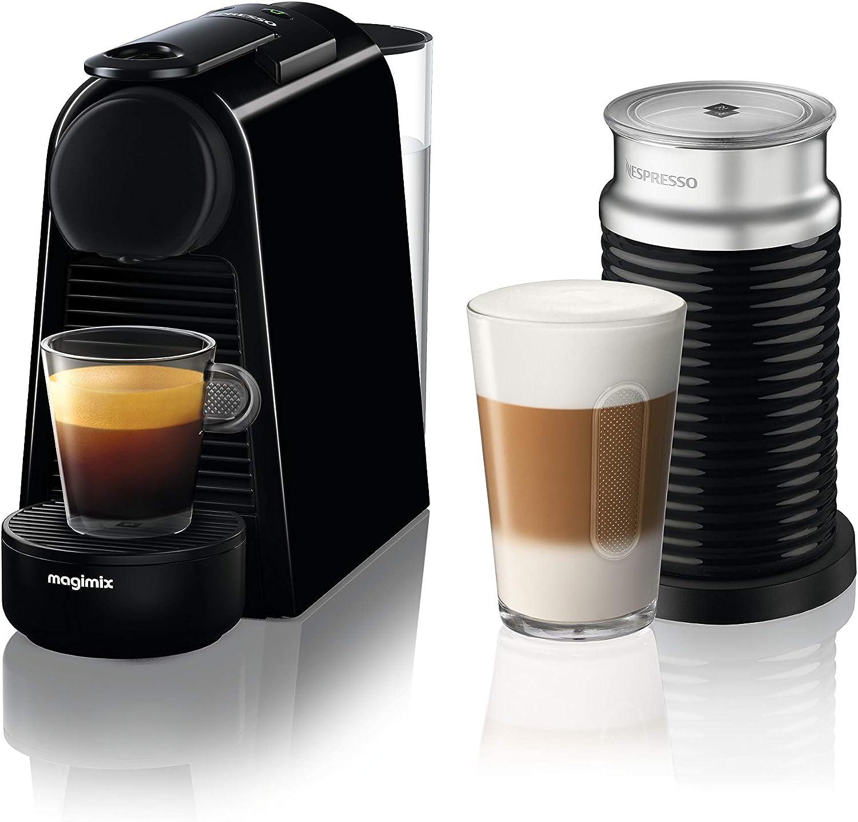 Nespresso Essenza Mini Coffee Machine With Aeroccino Pure Black By Magimix