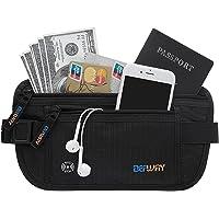 DEFWAY Travel Money Belt RFID Blocking Hidden Wallet Passport Holder Waist Pack Security Pouch Bag for Men Women