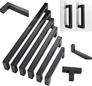 30 Pack Probrico Black Stainless Steel Square Corner Bar Cabinet Door Handles Drawer Pulls Knobs 1/2 in Width Hole Centers 3 inch 76mm
