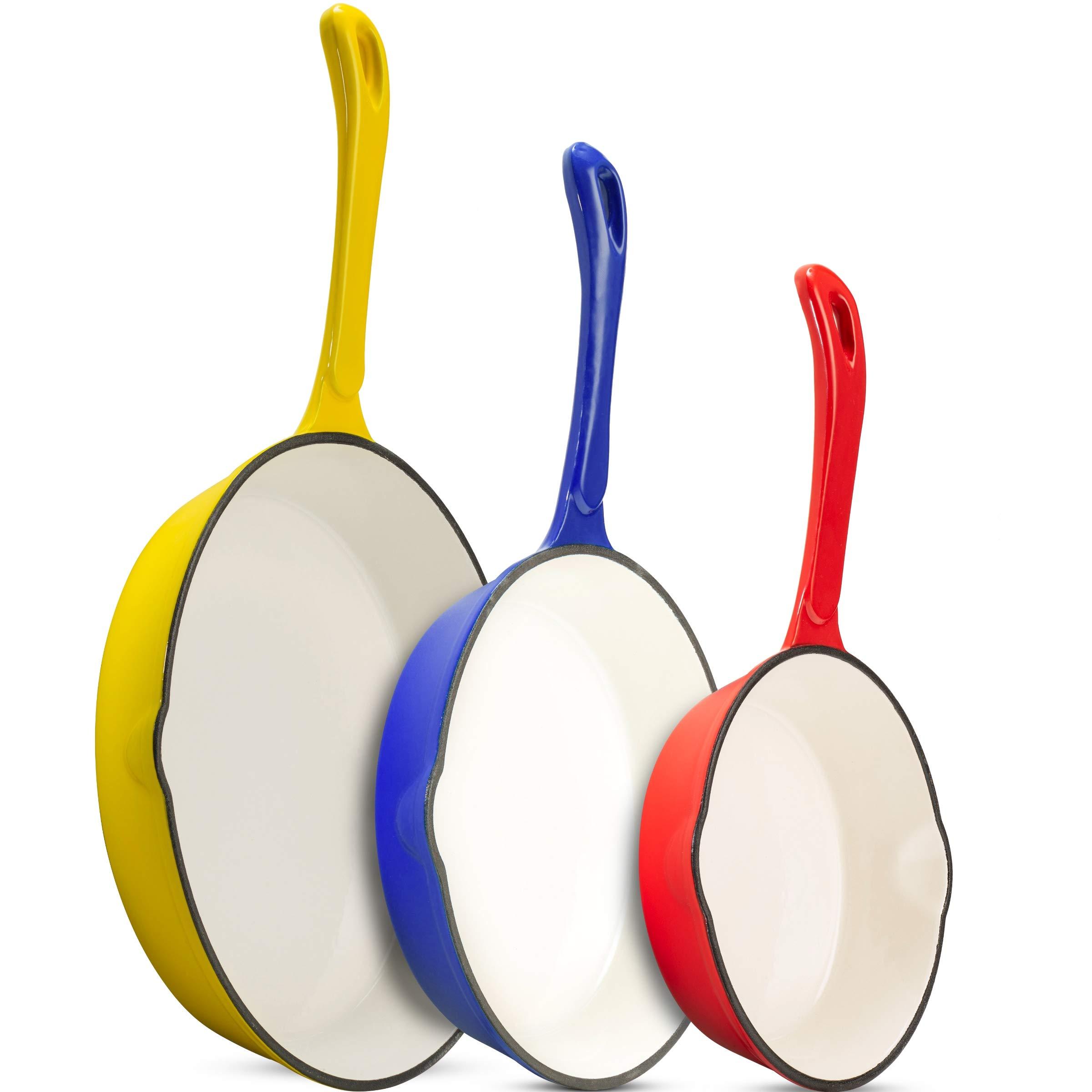 Klee Enameled Cast Iron Skillet - Nonstick Frying Pan Set - Ceramic Cookware Set - Enameled Cast Iron Frying Pan - Nonstick Skillets - Ceramic Skillet Set of 3 - 7'' Skillet, 8.5'' Skillet, 10'' Skillet
