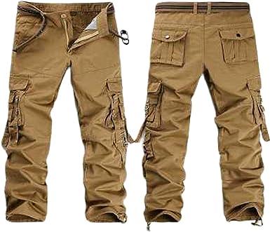 Huntrly Pantalones Para Hombre Pantalones Rectos De Algodon Con Multiples Bolsillos Pantalones Casuales De Camuflaje Sueltos Al Aire Libre Adecuados Para Senderismo Y Montanismo Amazon Es Ropa Y Accesorios