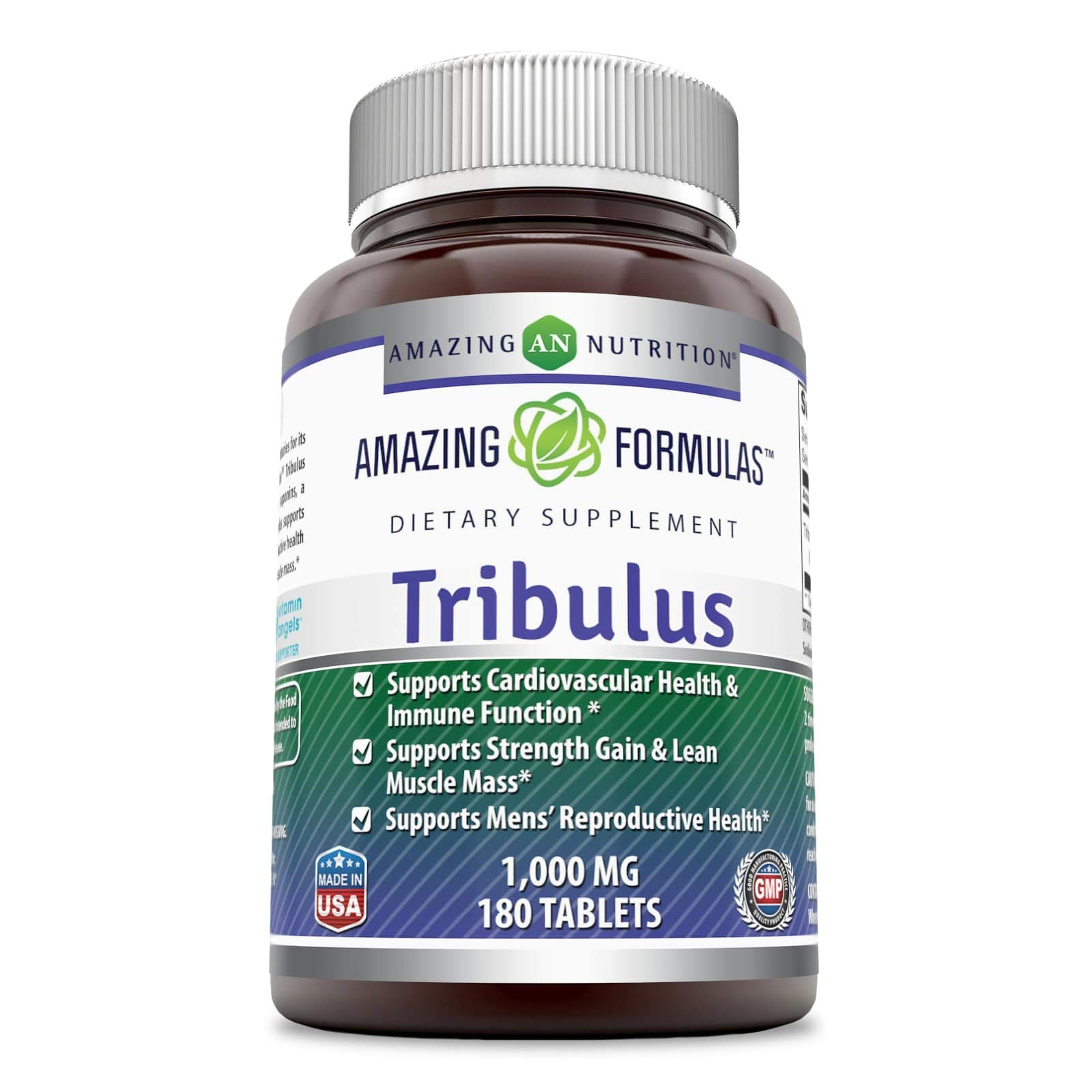 Amazing Formulas Tribulus Extract Dietary Supplement - 1000 MG Tablets- Standardized to contain Min. 45% Saponins - Supports Lean Muscle Mass, Promotes Cardiovascular Health, Immune System (180 Count)